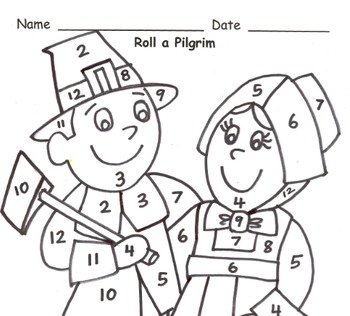 Roll a Pilgrim Addition Practice to 12
