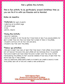Roll a Piñata SPANISH Christmas Las Posadas Spanish Activity Page