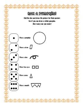 Roll a Pumpkin Worksheet