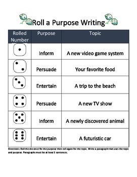 Roll a Purpose Writing