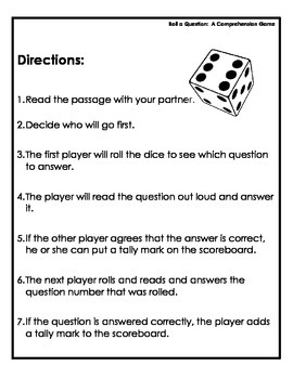 Literacy Center:  A Reading Comprehension Dice Game for Drawing Conclusions