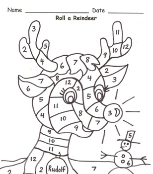 Roll a Reindeer Addition Practice to 12