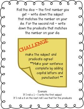Roll a Sentence Center Activity