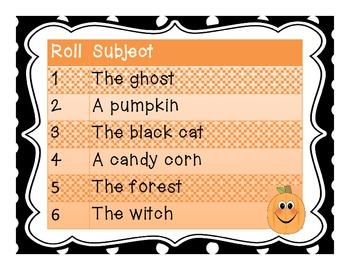 Roll a Sentence Center Activity - Halloween Edition