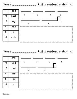 Roll a Sentence-Short vowels