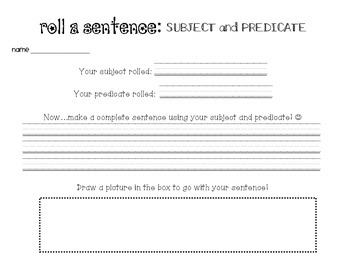 Roll a Sentence: Subject - Predicate Dice Roll with Recording Sheet