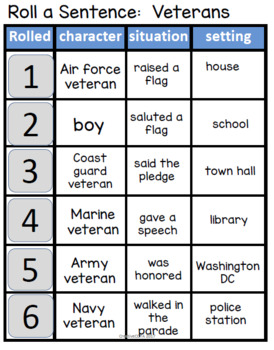 Roll a Sentence Veterans Day