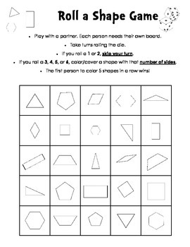Roll a Shape Game - 2D shapes - number of sides