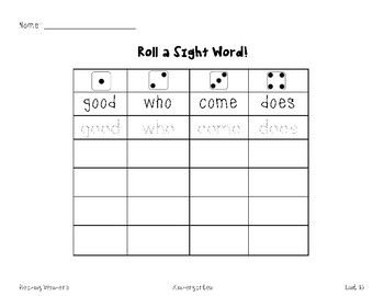 Roll a Sight Word!