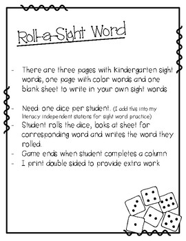 Roll-a-Sight Word