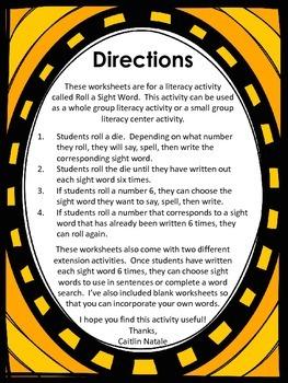 Roll a Sight Word (3rd Grade Words)