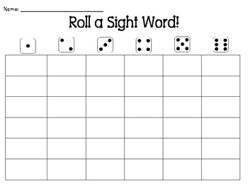 Roll a Sight Word *Customizable!*