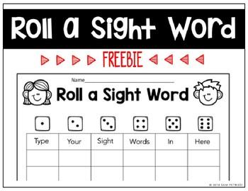 Roll a Sight Word FREEBIE