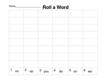 Roll a Sight Word Game Worksheets