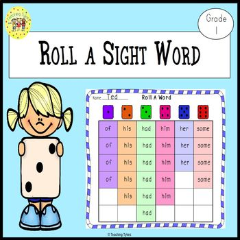 Roll A Sight Word Game For Dolch First Grade Sight Words By Teaching