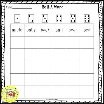 Roll a Sight Word Game for Dolch Nouns