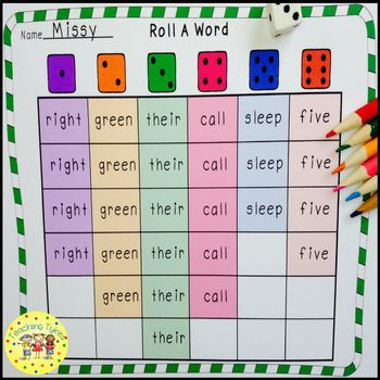 Roll a Sight Word Game for Dolch Second Grade Sight Words