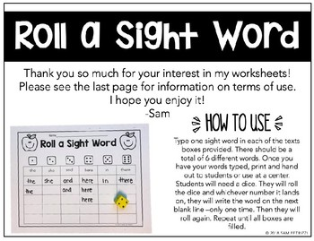 Roll a Sight Word - Spring Set