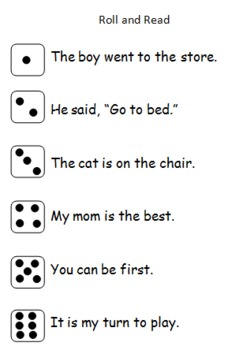 Roll a Sight Word dice games