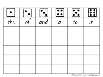 Roll a Sight word (Frys first 102 words!)