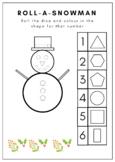 Roll a Snowman: 2D Shapes Christmas Maths Worksheet