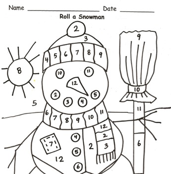 Roll a Snowman Addition Practice to 12