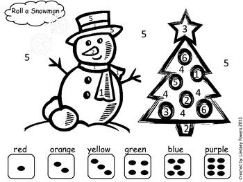 Roll a Snowman - Christmas Math Fun for Kindergarten