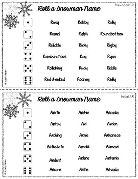 Roll a Snowman Name for R Articulation