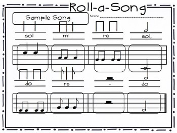 Roll-a-Song Musical Dice Composition: Half Note, Syncopa//Low Sol