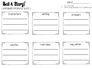 Roll a Story { Reader's Response Activity}