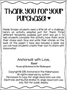 Roll-a-Story for Middle Grades ELA