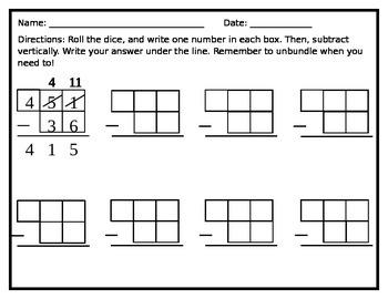 Roll a Subtraction Problem Math Center