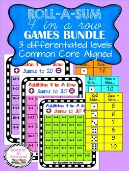 Roll-a-Sum 4 In A Row Games Bundle Common Core