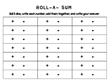 Roll a Sum, Different, & Product