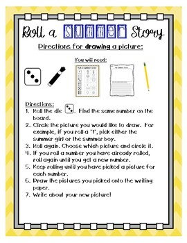 Roll a Summer Story writing center