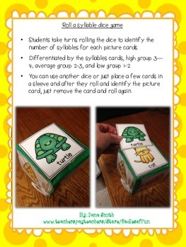 Roll a Syllable Dice Game!