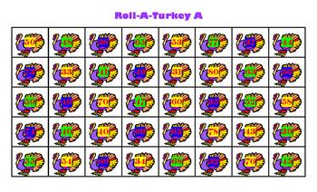 Roll a Turkey Addition Level A