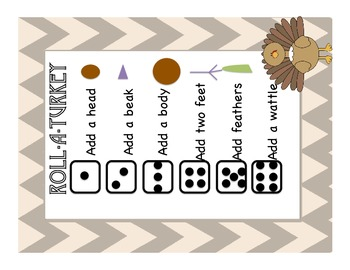 Roll a Turkey, Thanksgiving/Fall Activity, Literacy Centres Primary