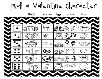 Roll a Valentine Character- Dice Game Activity