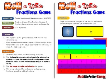 Roll a While Fraction Game
