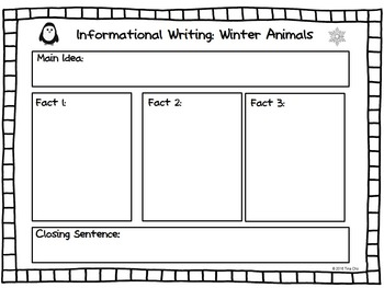 Roll a Winter Animal Informational Text Writing Activity