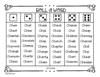 Roll-a-Word /CH/, /TH/, & /J/ Edition