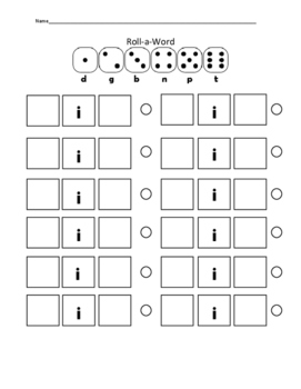 Roll a Word Dice Activity (with all vowels)