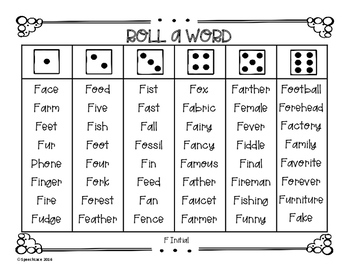 Roll-a-Word /F/ & /V/ Edition
