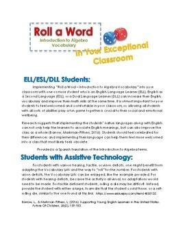 Roll a Word – Introduction to Algebra Vocabulary Game