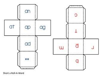 Roll-a-Word Literacy Center Short a CVC words