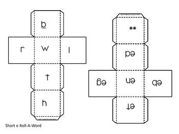 Roll-a-Word Literacy Center Short e CVC words