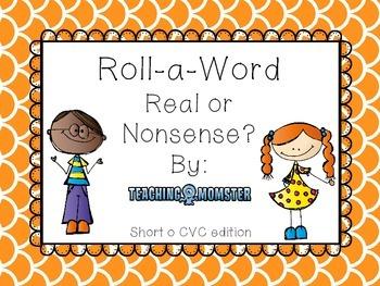 Roll-a-Word Literacy Center Short o CVC words