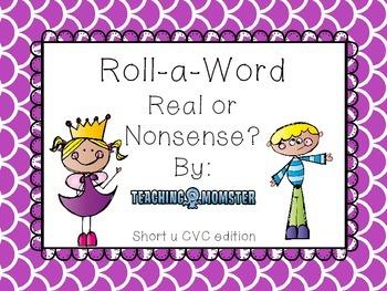 Roll-a-Word Literacy Center Short u CVC words
