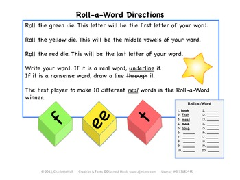 Roll-a-Word: Medial Vowel Pairs (Digraphs)
